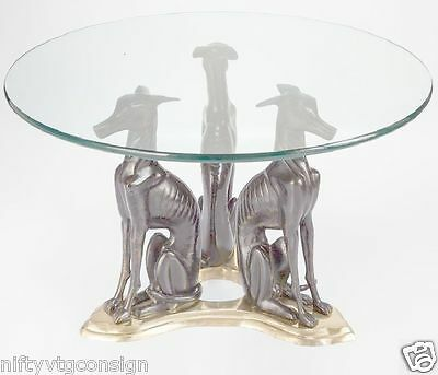 Mid Century Modern Coffee End Table Glass MAITLAND SMITH Vintage Brass Dog MCM