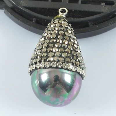 Black Shell Pearl Pave Crystal Zircon Charm One Bail H80220