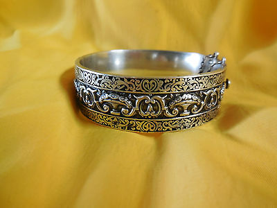 Antique Grecian Victorian Topazio Bangle Sterling Silver Bracelet Repousse Art