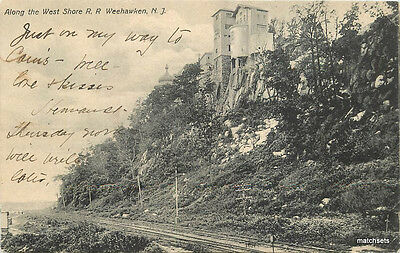 1907 WEEKHAWKEN NEW JERSEY West Shore Railroad undivided pootcard 3088