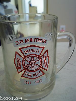 """Melville Volunteer Fire Department Firematic Collectible Mug 1972 43/4"""" 25Th Ann"""