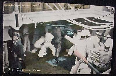 "Pre WWI WW1 Unused Postcard 6"" Gun Crew in Action 1910 Brown & Shaffer Military"