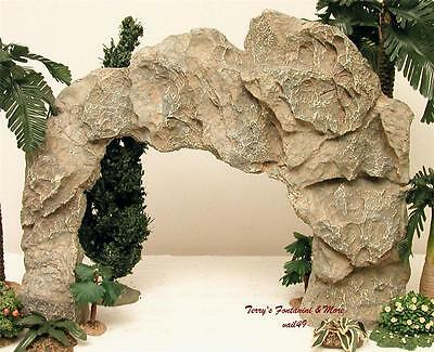"""FONTANINI ITALY EARLY 5"""" LARGE STONE WALL w/ARCH OPENING NATIVITY VILLAGE 51163"""