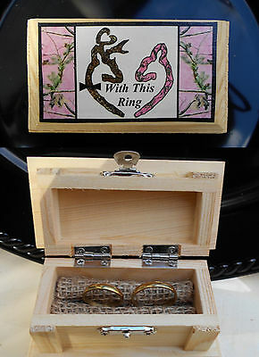 CAMOUFLAGE Wedding Deer Hunt Camo Ring Bearer Pillow Box Wood  Woods PINK