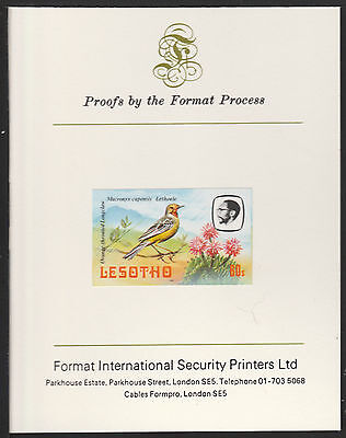 Lesotho (514) 1982 Longclaw 60s imperf on Format International PROOF  CARD
