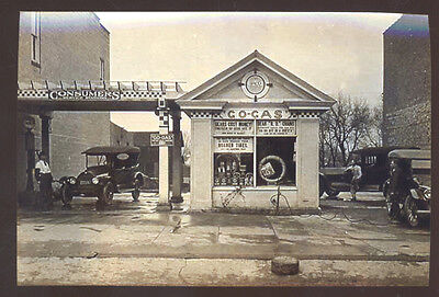 Real Photo Springfield Illinois Go Gas Station Service Old Cars Postcard Copy