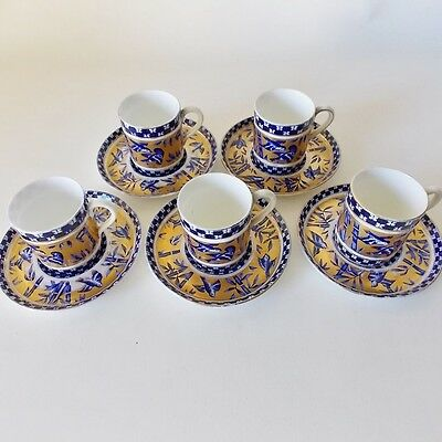 Five Coalport Bamboo Bird Garden Demitasse Cups And Saucers Cobalt Blue And Gold