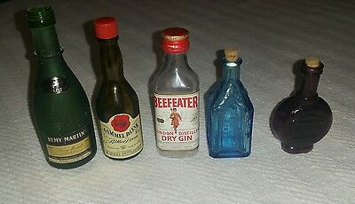 Lot of 5 Alcohol Mini Shot Bottles Remy Gammel Dansk Beefeater Celebrated Remedy