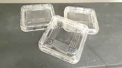 3 Vintage Ribbed Criss Cross Refrigerator Box Lids 4""