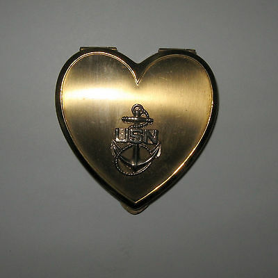 Vintage USN United States Navy Powder Compact Heart Shaped