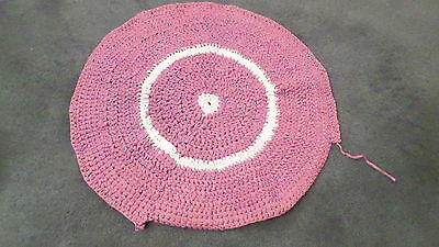 "30"" diam Purple & White Hand Made Knot Braided Rug - unfinished Craft Project"