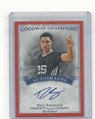 2016 Goodwin Champions Ben Simmons Red Achievement Auto Limited To 25