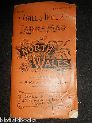 Gall and Inglis Map of North Wales - c1895 - 3 Miles per Inch - Welsh/Cymru/Mons