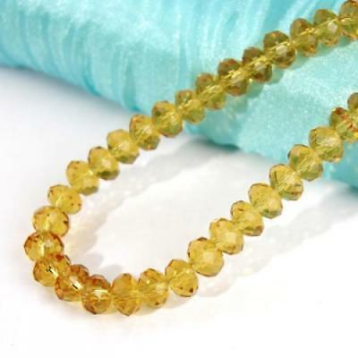 15''/Strand 6x8mm Topaz Faceted Rondelle Crystal Glass Loose Beads