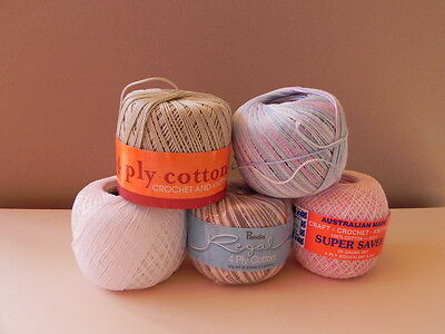 Pack of 5 Rolls Crochet Cotton  - Mixed Colours