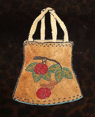 "Antique Beaded Cherry Image Native American Pouch or Bag 6 1/2"" - Great Lakes -"