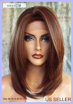 Lace Front Wig HAND TIED HEAT FRIENDLY P4.27.30 SOFT STRAIGHT LAYERS USA 1131