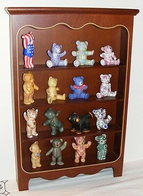 16 x Franklin Mint Teddy Bear Collection Figurines + Display Cabinet !