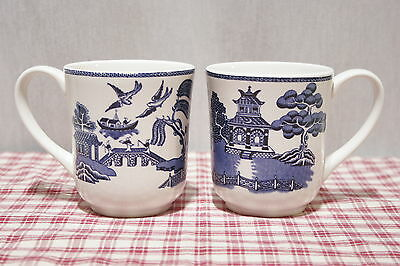 "LOT of Two Johnson Bros. Blue Willow 4"" MUGS, Made in England,  MINT!"