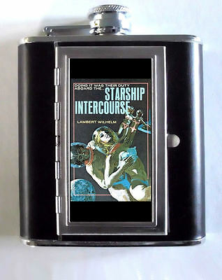 Starship Intercourse Star Trek Spoof Pulp Art 5oz Flask Cigarette Case ID Wallet