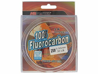 MBMaster 30lb 25m 100% Fluorocarbon Fishing Line Leader Japanese Monofilament