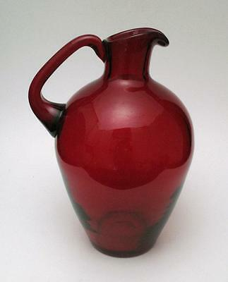 Large Vintage Hand Crafted Ruby Red Art Glass Jug Pitcher Whitefriars England