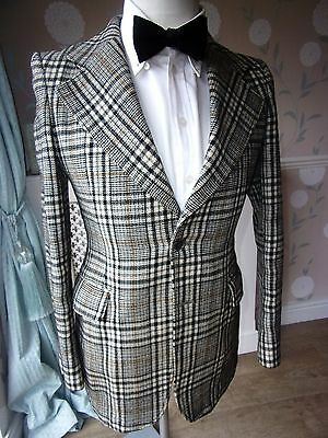 Mens Bold Plaid Vintage 70's SCOTTISH TWEED Pure Wool Tailored Jacket 36