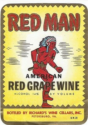 1950's Red Man Red Grape Wine Bottle Label. Petersburg, VA   4  x 3  inches
