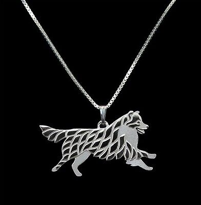 Australian Shepherd Moving  Silver pendant necklace dog collectible N90