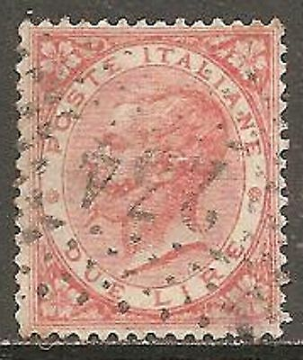1863 Italy 2l. Pale Scarlet SG 16 Used (Cat £150)