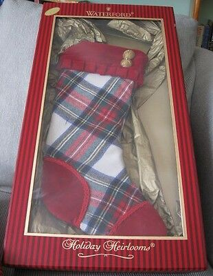 WATERFORD HH $49 Large White Stewart Plaid Stocking **Numbered Limited Edition**