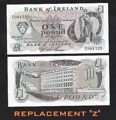 Ireland 1 Pounds (1980) P65r REPLACEMENT 'Z' BANKNOTE - UNC