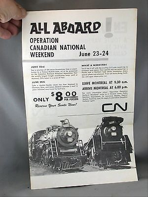 Aboard Operation Canadian National Weekend 1970's Steam Train Advertising Poster