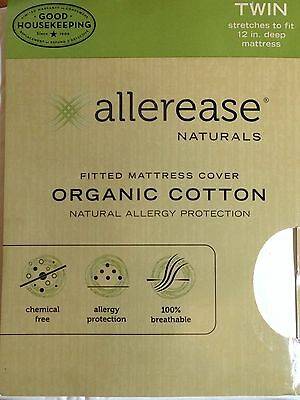 Allerease Mattress Cover Twin Fitted Organic Cotton Natural Allergy Protection