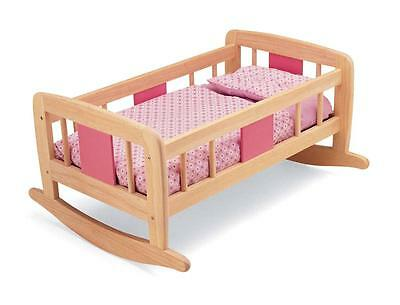 John Crane Wooden Doll's Rocking Cradle with Bedding New Was £59.99