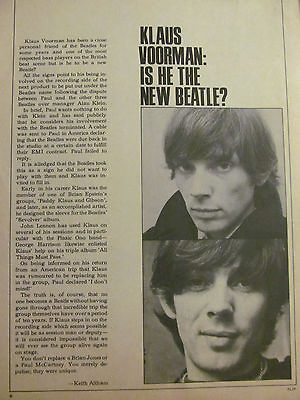 Klaus Voorman, Full Page Vintage Clipping, Beatles, Manfred Mann