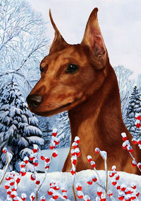 Garden Indoor/Outdoor Winter Flag - Red Miniature Pinscher 152231
