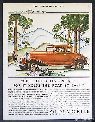 1931 Red Oldsmobile Coupe Pine Trees Mountain Hills Art Deco Print Ad