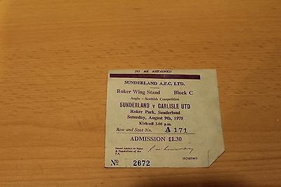 SUNDERLAND v CARLISLE UNITED ANGLO-SCOTTISH USED TICKET STUB 1975 (A171)
