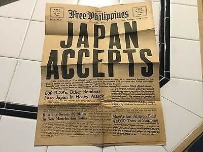 """WWII August 15, 1945 Free Philippines Newspaper """"Japan Accepts"""""""