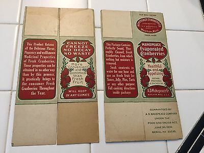 Vintage 2 boxes Pharmacy Drug Store Cooking Medicine MAKEPEACE CRANBERRIES