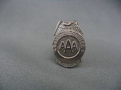 Small Vintage AAA Patrol Service Pin Silvertone Eagle Wings Badge Shaped