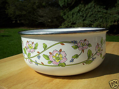 Vintage White Metal Mixing Bowl with Floral Design