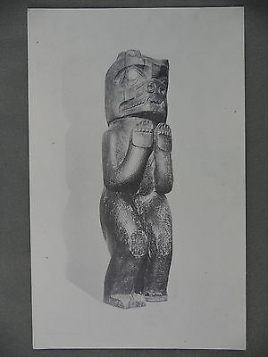 North West Coast Native Postcard Carving ROM Museum House Post Grizzly Bear