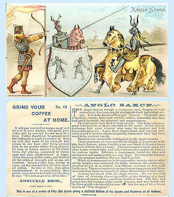 Arbuckle Coffee 1893 Trade Card Sports & Pastimes #43 Anglo Saxon Jousting