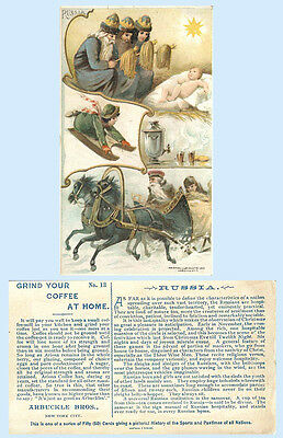 Arbuckle Coffee 1893 Trade Card Sports & Pastimes #13 Russia Bobsled Samovar