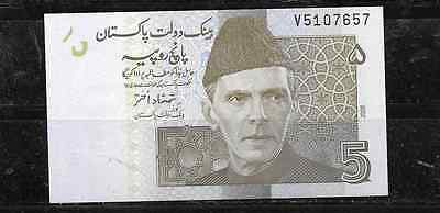 PAKISTAN #53a 2008 CRISP MINT 5 RUPEES BANKNOTE PAPER MONEY CURRENCY BILL NOTE