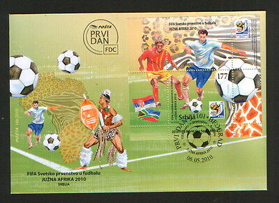 Serbia-South Africa-Fdc-Block-Cup,football-Soccer-2010.