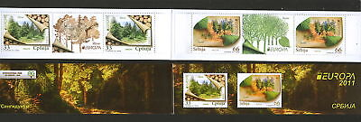Serbia-Mnh** Booklet-Europa Cept-Forets-2 Sets+Lab-2011