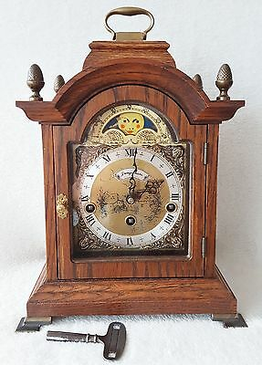 Warmink Mantel Shelf Westminster Chime Clock Oak Wood Moonphase Dutch 1970s Big